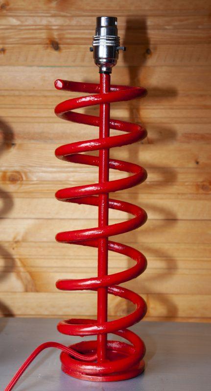 Red salvaged metal lamp