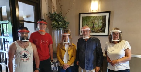 group wearing safety equipment