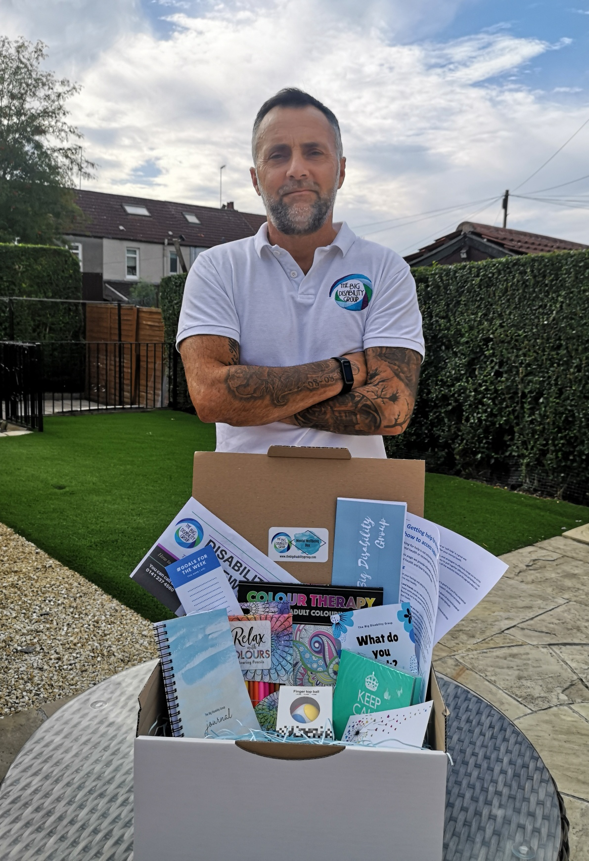 Kevin Crawford with the charity's Wellbeing Box