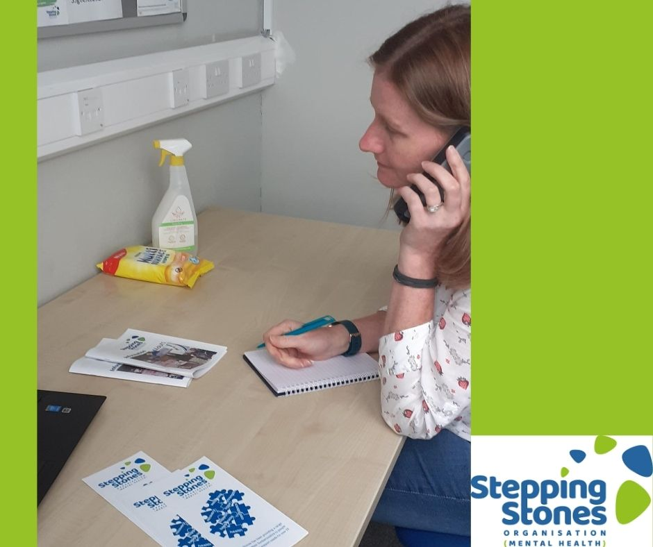 Stepping Stones counsellor providing support on the phone