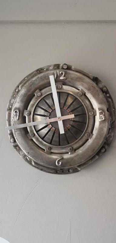 a clock made from a clutch