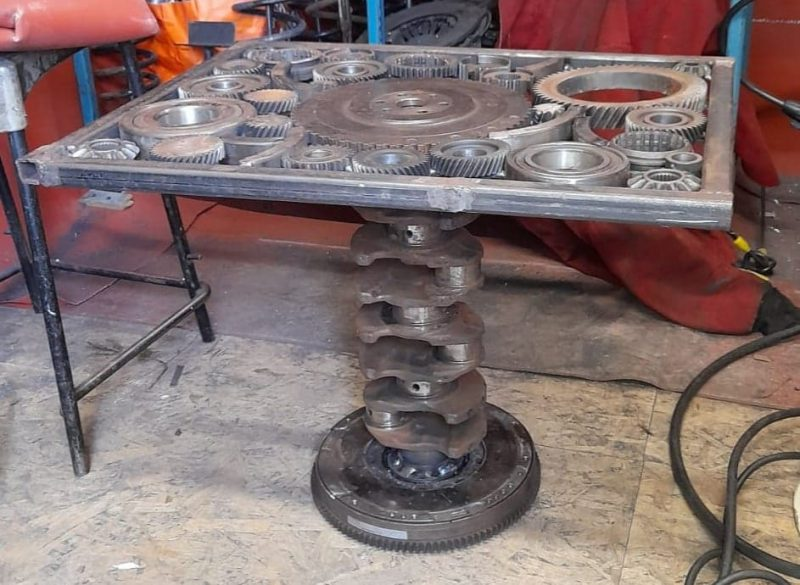 photographs of table made from a crankshaft