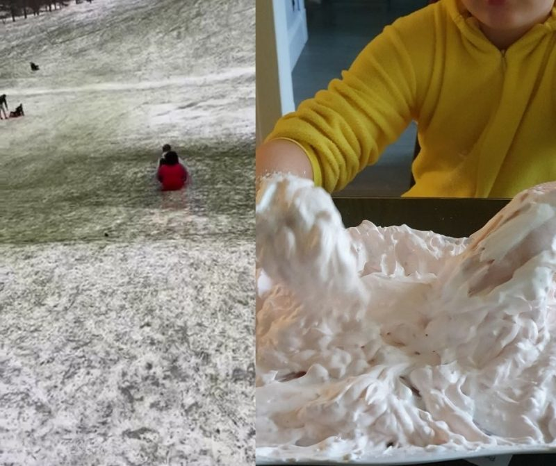 Homeschooling - sledging and slime