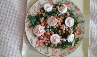 Plate of chickpea and egg salad