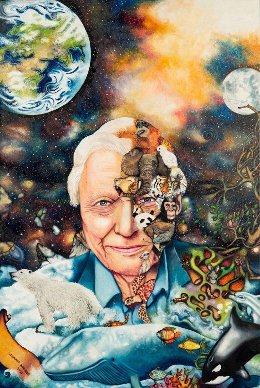 Painting of David Attenborough