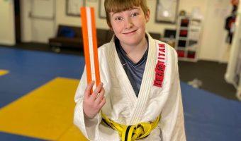 Child at judo lesson