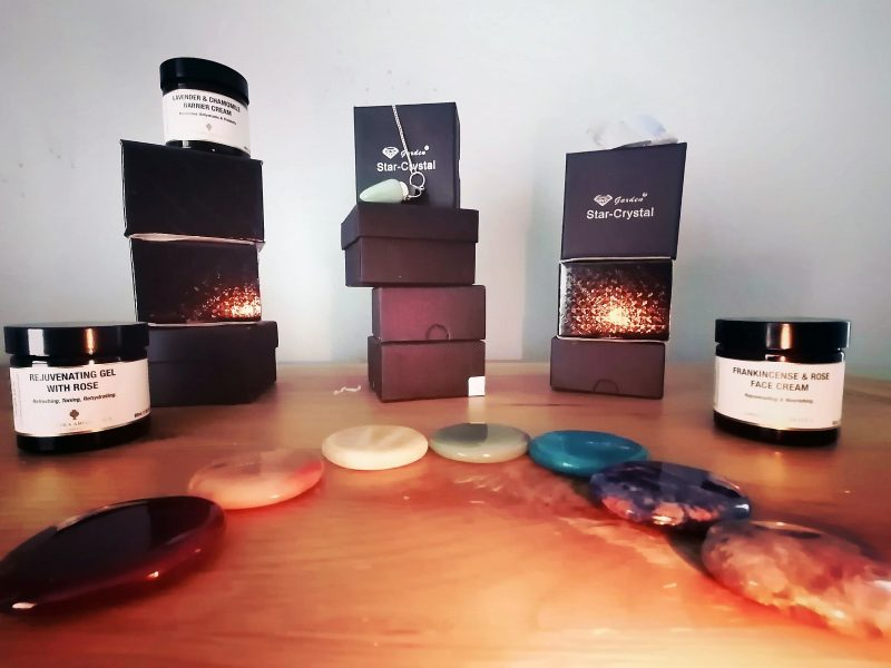 Candles, crystals and oils