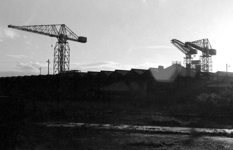 B+W Image of crane silhouette.